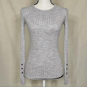Theory Mirzi B Wool Blend Gray Sweater Size P